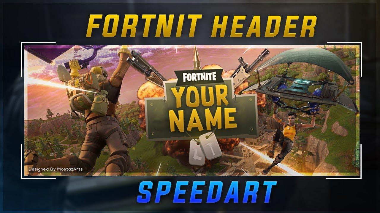 Speed Art Fortnite Header Template Youtube Fortnite Free V Bucks