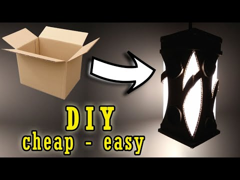 Making Creative Night Lamp DIY | How To Make Cardboard Lampshade | Home Decorating Ideas