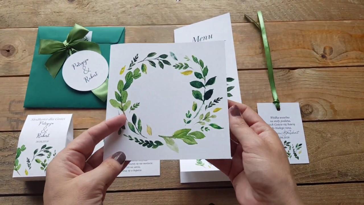 Zaproszenia ślubne W Kolorowej Kopercie W Stylu Greenery Akwarele
