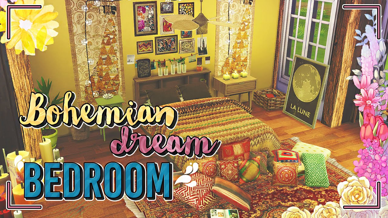 The Sims 4: Speed Build |Bohemian Inspired Room - YouTube