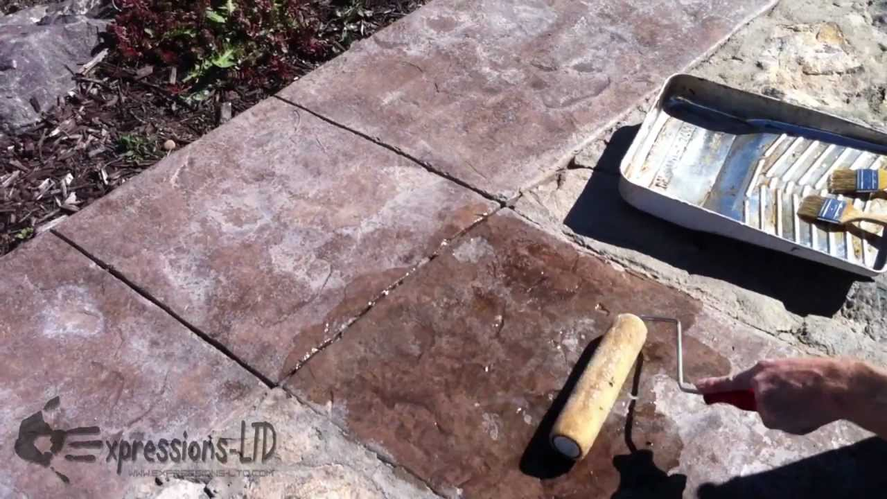 Reseal Renew Old Worn Acrylic Sealer On Decorative Stamped Concrete    YouTube