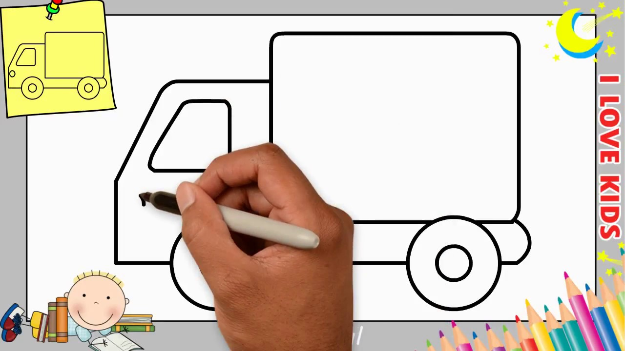 LKW zeichnen lernen einfach schritt für schritt für ...