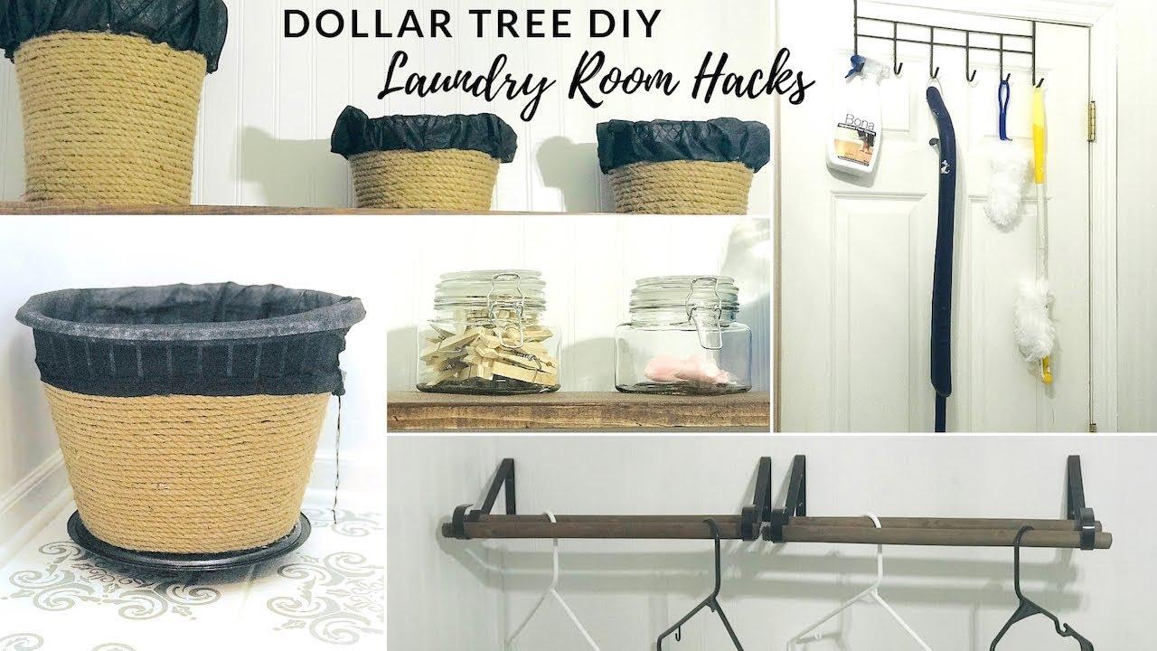 Dollar Tree Diy Farmhouse Laundry Room Organization And Hacks Youtube