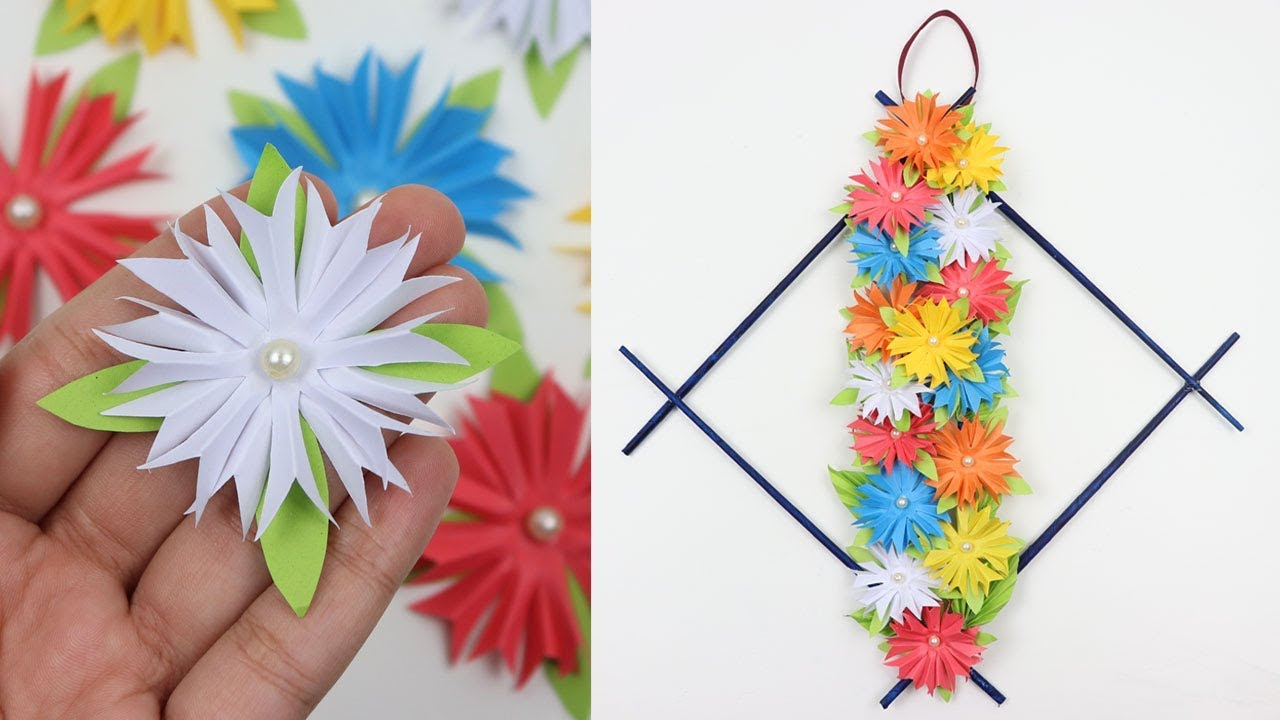How To Make Diy Easy Paper Flowers Wall Hanging Beautiful Wall Decor Ideas Handmade Wall Crafts