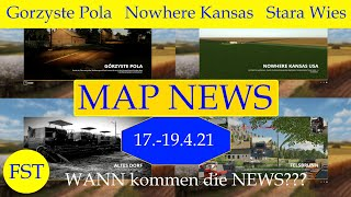 "[""LS19 MAP NEWS 17.-19.4.21"", ""WANN kommen die NEWS???"", ""Gorzyste Pola"", ""Nowhere Kansas"", ""Stara Wies"", ""Felsbrunn by Apollo"", ""LS19 Mapvorstellung"", ""Toivila Forest"", ""Moose Forest Vilage"", ""Public Works Company"", ""Modtown USA 4X"", ""Südparana"", ""Le TP Dans L´Cantal""]"
