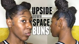 How To: UPSIDE DOWN BRAIDED SPACE BUNS on Curly Natural Hair | Short/ Medium Length