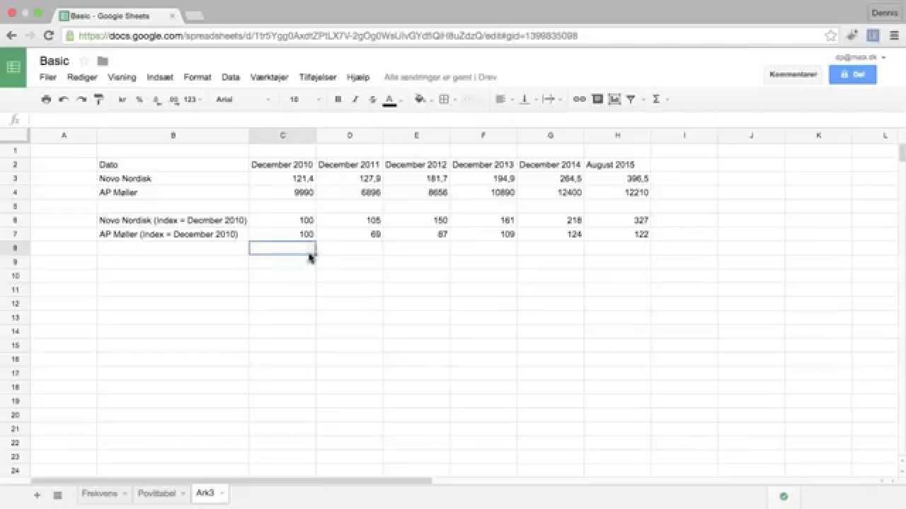 Google Sheet L4 - Indekstal