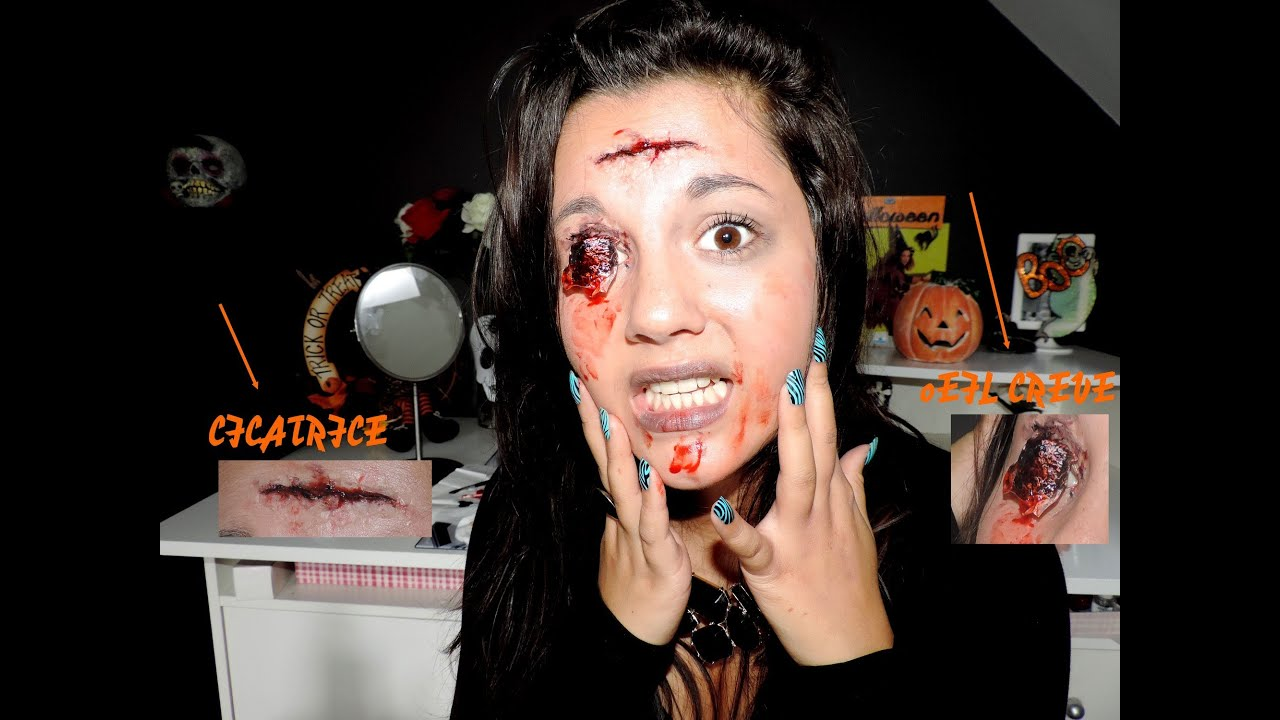 Maquillage halloween cicatrice et oeil creuv youtube - Maquillage cicatrice halloween ...