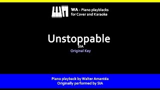 Unstoppable - SIA - Piano Playback for Cover / Karaoke