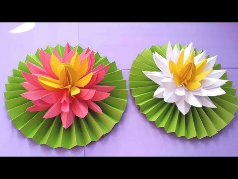 How to Make Most Beautiful Lotus/Water Lily With Paper | Making Paper Flowers