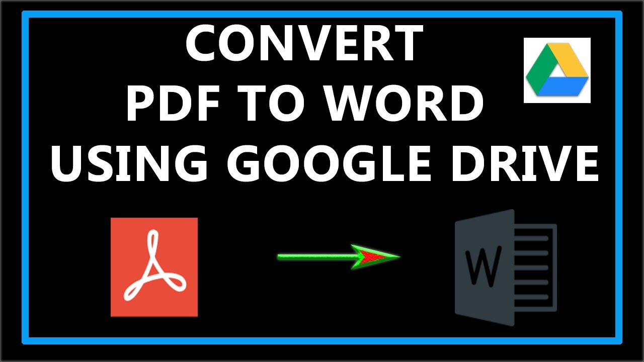 How To Convert Pdf To Word Using Google Drive Youtube