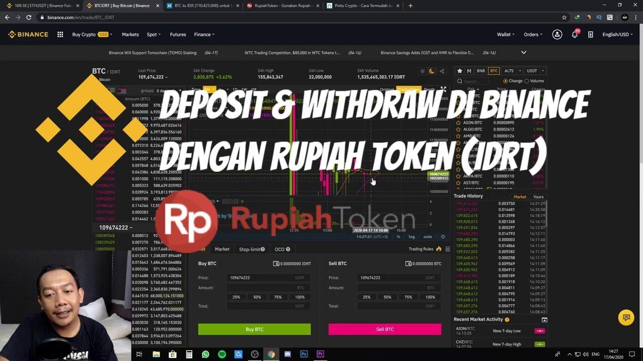 Deposit dan Withdraw di Binance Menggunakan Rupiah Token IDRT 1
