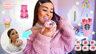 Eating Only PINK FOOD For 24 Hours!♡*TRYING SUSHI FOR THE FIRST TIME*