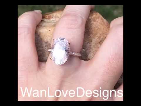 15x10mm Celebrity Pale Pink Sapphire & Diamond Oval Blake Lively style Engagement Ring