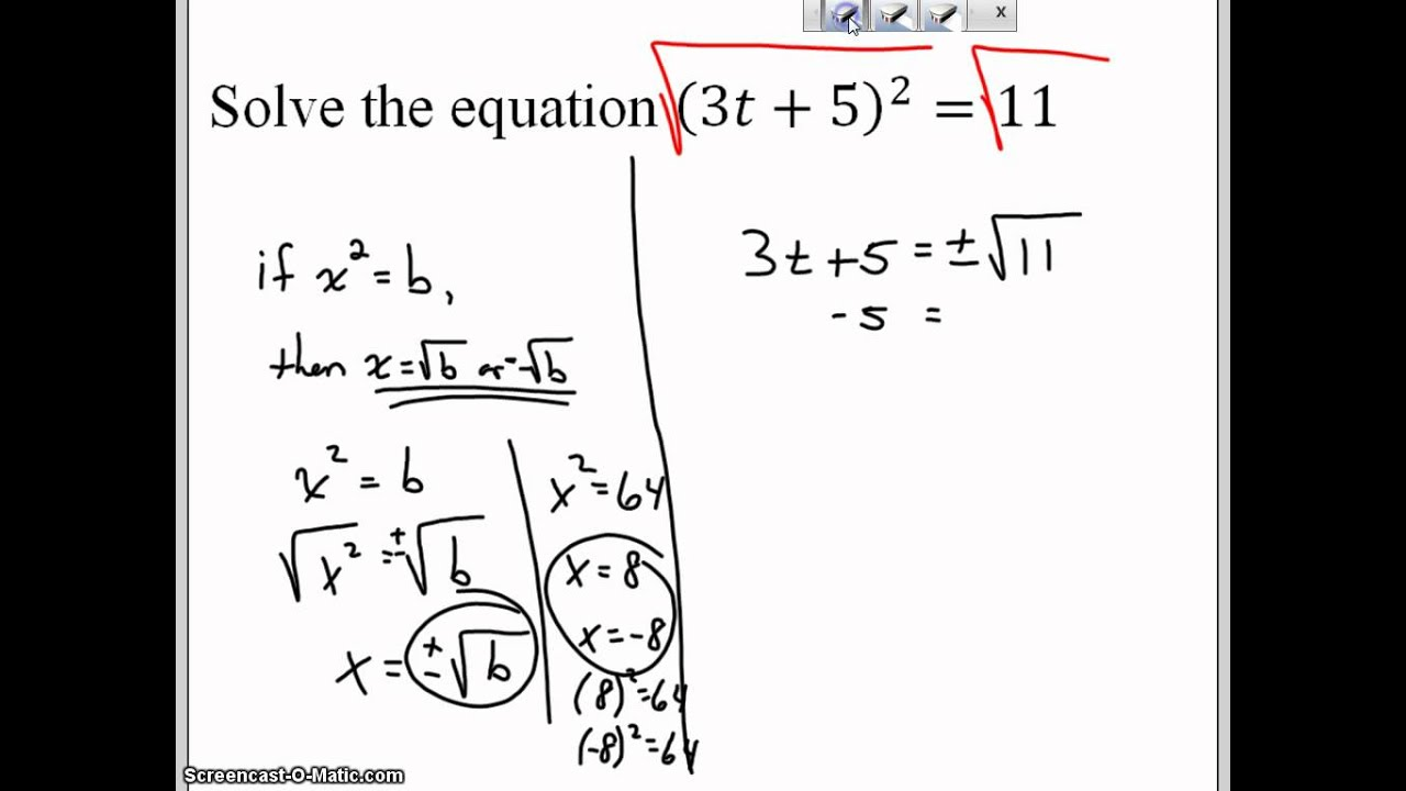 Solve A Quadratic Equation Using The Square Root Property