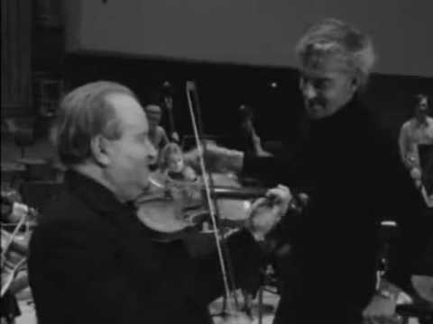Oistrakh and Karajan rehearsal Mozart Violin concerto No.5 (1972)