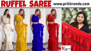 BUY NOW Coloring Ruffel/Frill Saree ll Online Shop ll www.prititrendz.com