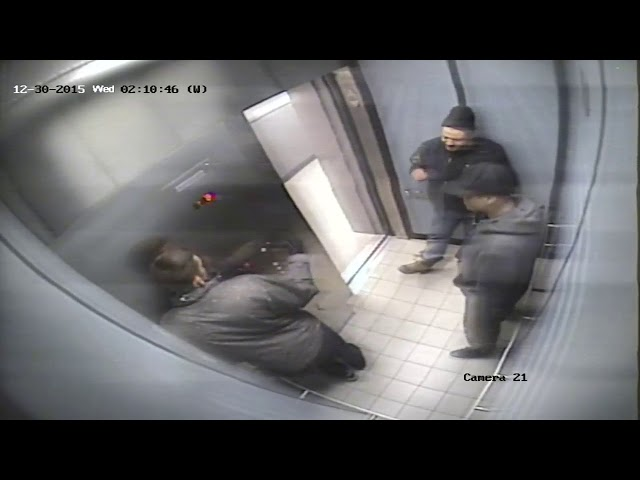 William Cummins, Matthew Moreira and Patrick Smith in an apartment elevator near the crime scene early Dec. 30, 2015 less than two hours after the fatal attack on Zack Noureddine. The Crown told jurors the surveillance footage shows the trio re-enacting the murder, with Cummins demonstrating how he kneed the victim, Smith simulating how he stomped on him while Moreira laughs.
