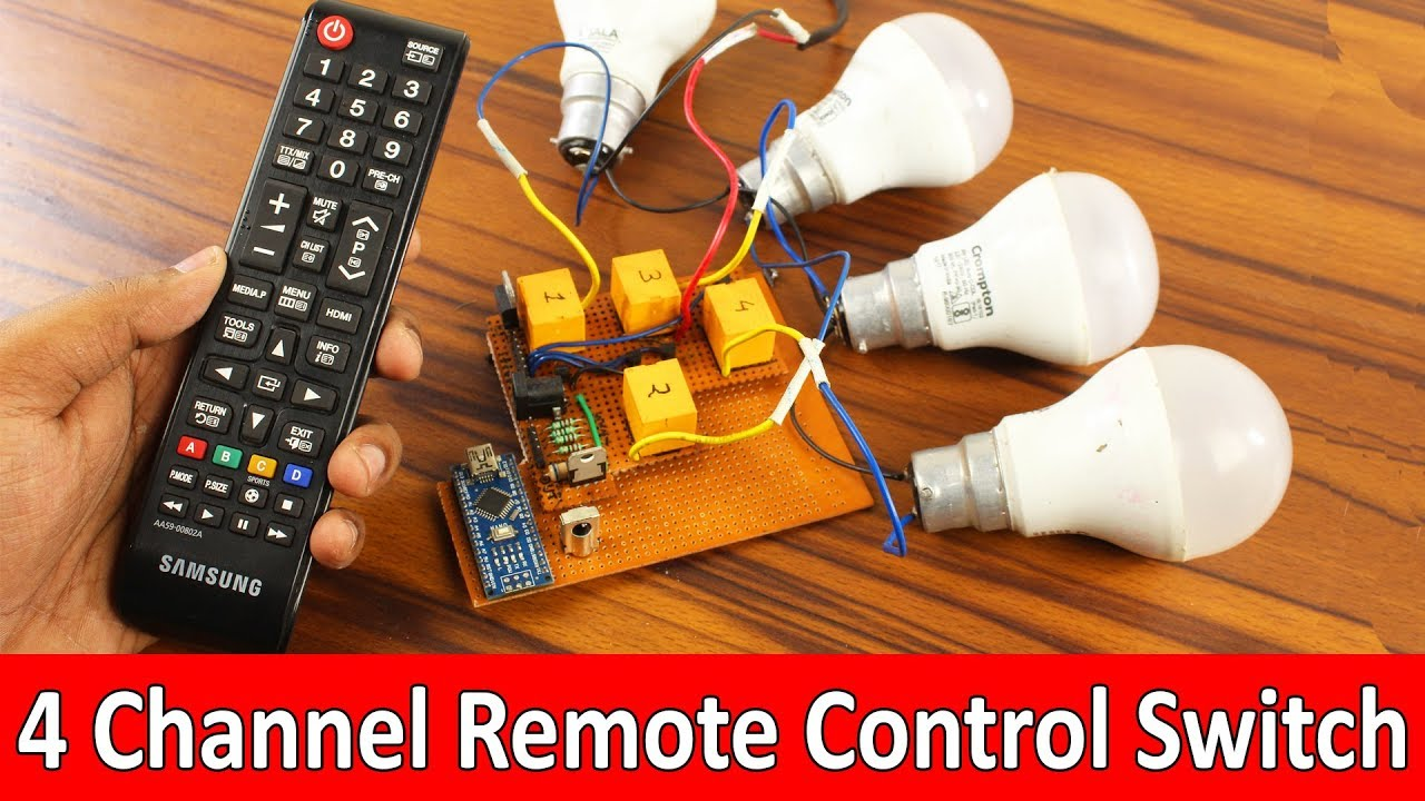 Remote Control Switch Using Arduino (4 Channel) On/Off Room Light With TV  Remote