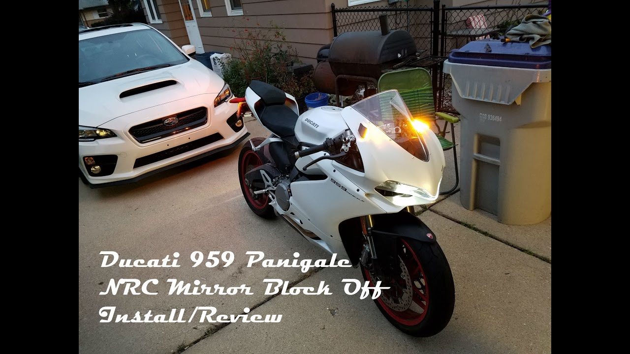 ducati 959 panigale nrc mirror block off install/review - youtube