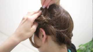 Repeat youtube video Japanese braid【簡単編み込みロールアップ ミディアムヘアアレンジ】