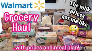 $109 WALMART GROCERY HAUL WITH PRICES 🛒 NO CONTACT PICKUP🍽 GROCERY HAUL AND MEAL PLAN💥