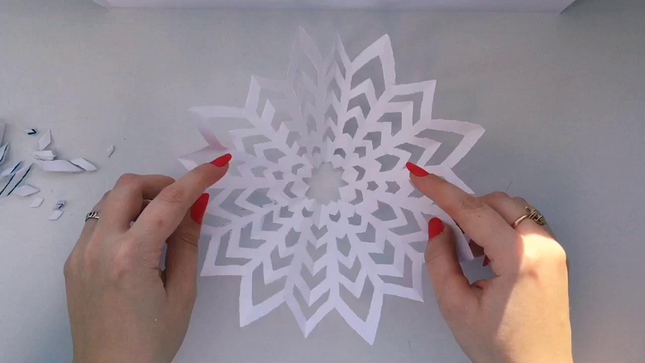 Вырезаем снежинки с Лёлей! Снежинки из бумаги. Трафарет снежинок.