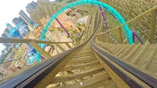 Desert Rally Wooden Roller Coaster Front Seat POV Happy Valley Chengdu China