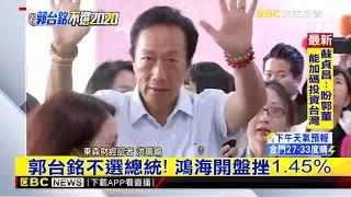最新》郭台銘不選總統!鴻海開盤挫1 45%
