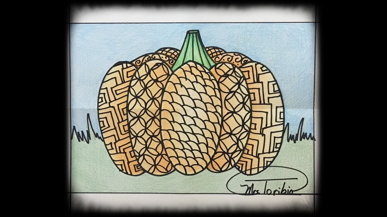 Draw an easy Zentangle Pumpkin with different patterns ...