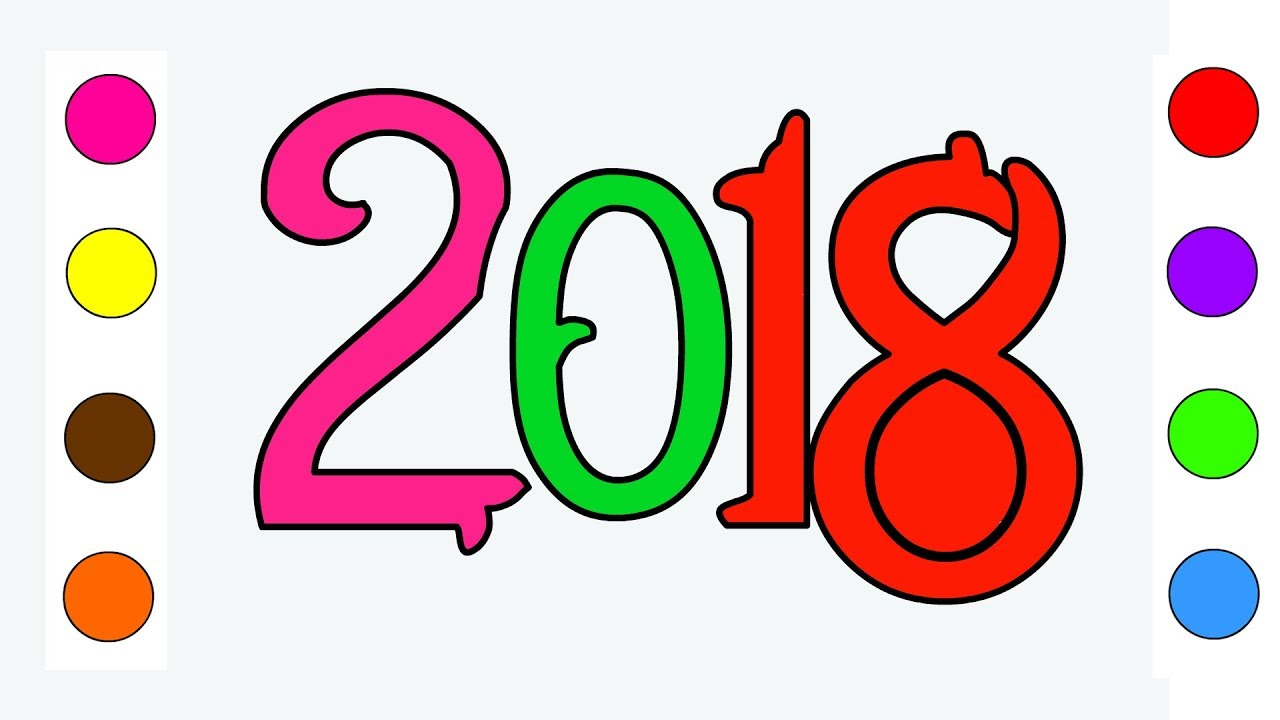 Happy New Year 2018 Coloring pages For Kids Children Toddlers ...