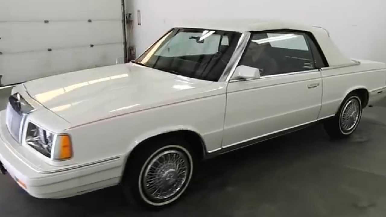 Dustyoldcars 1986 Chrysler Lebaron Mark Cross White Cpnvertible Sn 1065