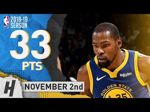 Kevin Durant Full Highlights Warriors vs Timberwolves 2018.11.02 - 33 Pts, 3 Ast, 12 Rebounds!