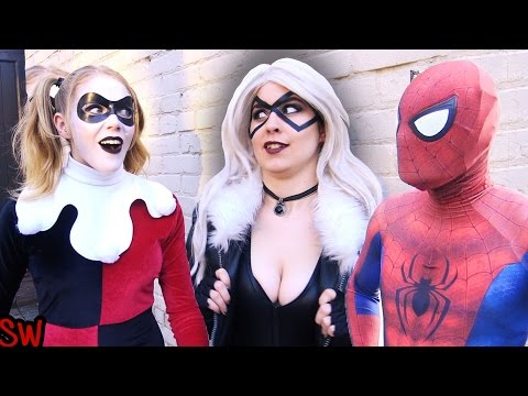 Spider-Man VS Harley Quinn & Black Cat - Real Life Superhero Movie