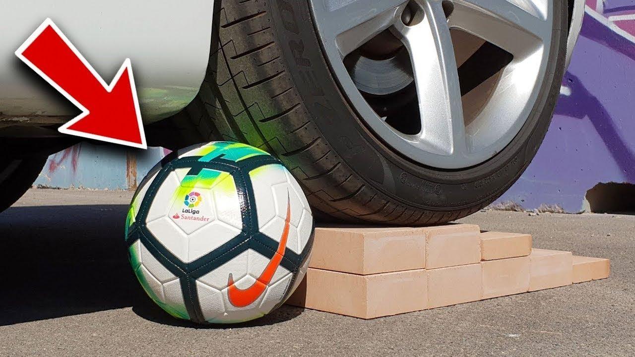 لن تصدق ماذا سيحدث لو وضعنا كرة قدم اصلية أسفل اطارات السيارة..!!