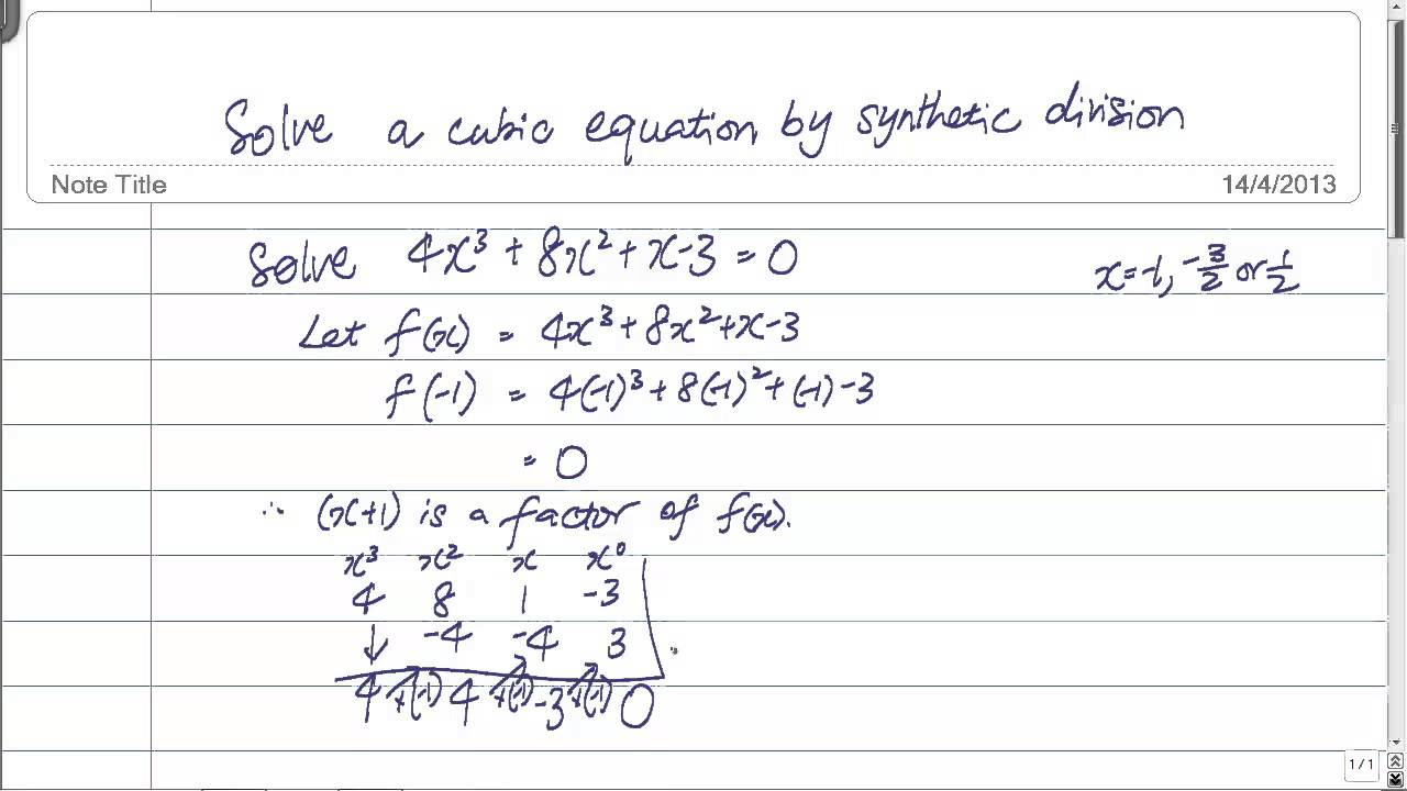 Gce Olevel Amaths: Solve A Cubic Equation By Synthetic Division