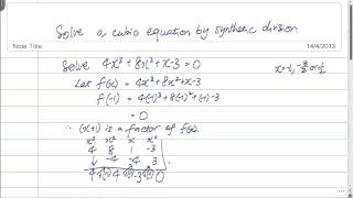 GCE O-Level A-Maths: Solve a Cubic Equation by Synthetic Division