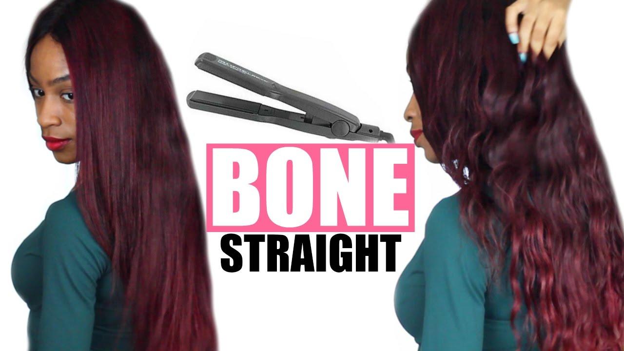 How To Flat Iron Weave Bone Straight Red Virgin Hair Weave Youtube