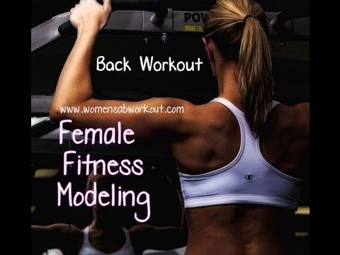 female fitness model training back exercises back