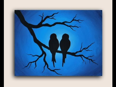 Acrylic Painting On Canvas Love Birds