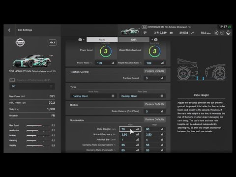GT Sport | How to tune RIDE HEIGHT and FREQUENCY SIMPLE