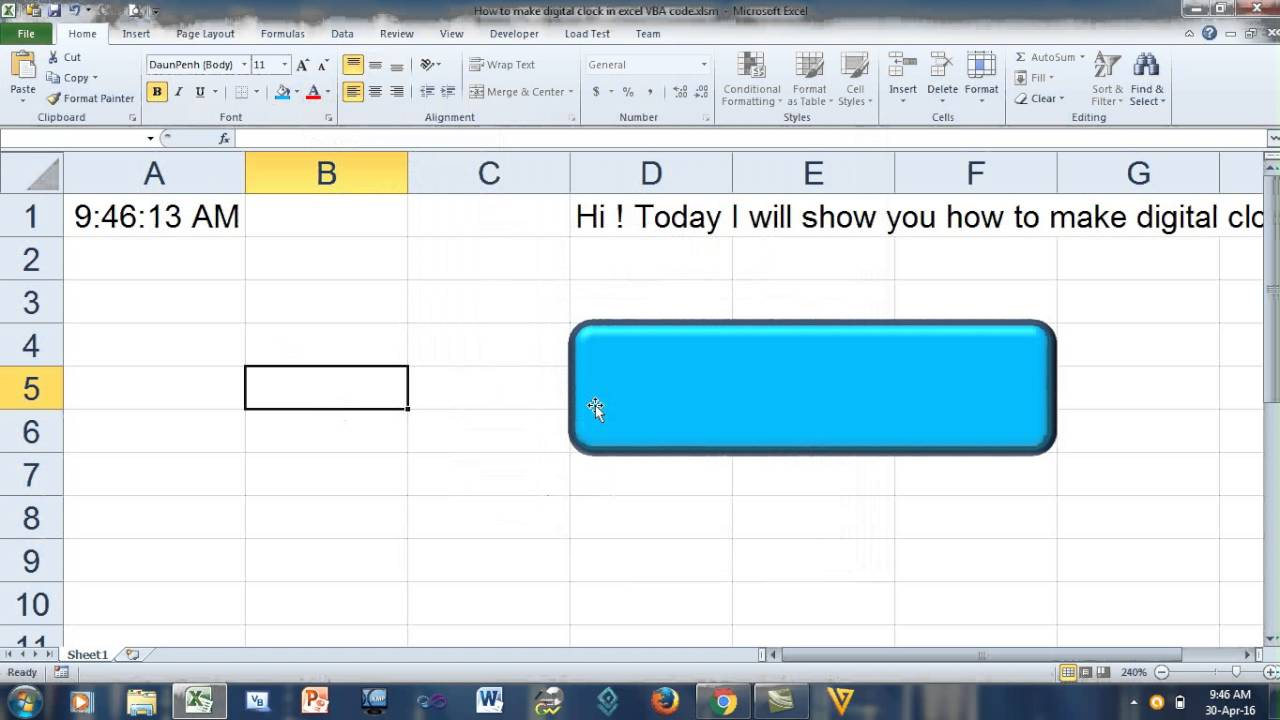 VBA Code To Make Digital Clock in Excel | How to make digital clock in  excel VBA code