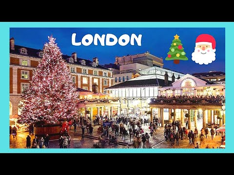 LONDON: The CHRISTMAS TREE at COVENT GARDEN, decorations, music and street performers