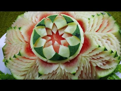 How to Mack Beautiful  Watermelon  Flower - Fruit Carving Design garnish