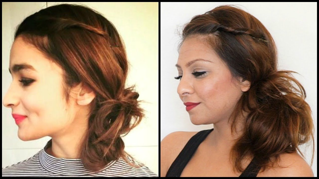 Side Bun Hairstyles messy low side bun with nice waves Alia Bhatt Messy Side Bun Hairstyle Tutorialeasy Side Bun Updo Hairstyle For Long Hair Medium Hair