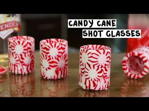 Peppermint Shot Glasses with Candy Cane...