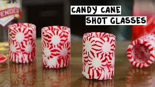 Peppermint Shot Glasses with Candy Cane Vodka