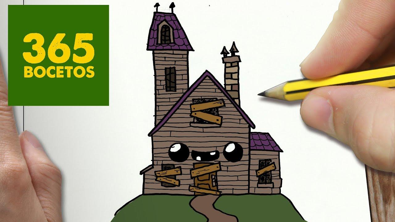 COMO DIBUJAR CASA ENCANTADA KAWAII PASO A PASO  Dibujos kawaii