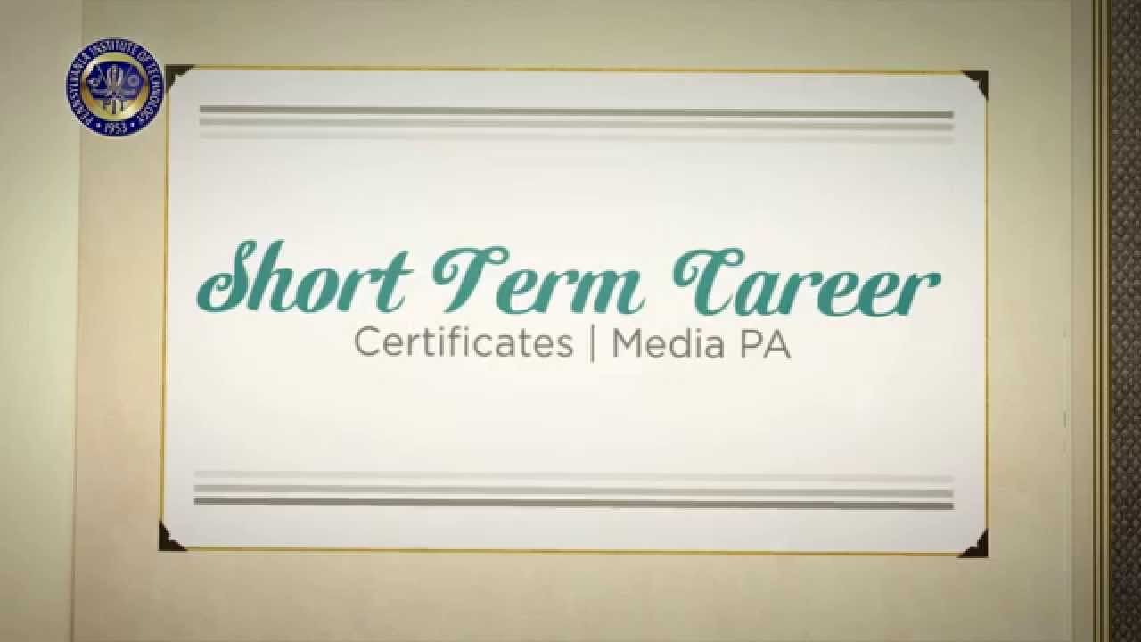 Short Term Career Certificates Media Pa Youtube