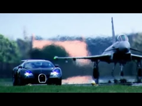 Bugatti Veyron Vs Euro Fighter Typhoon: Drag Race (HQ) | Top Gear | BBC